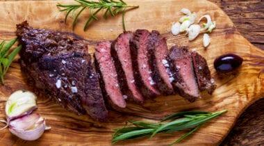 teres steak sliced on cutting board with seasonings