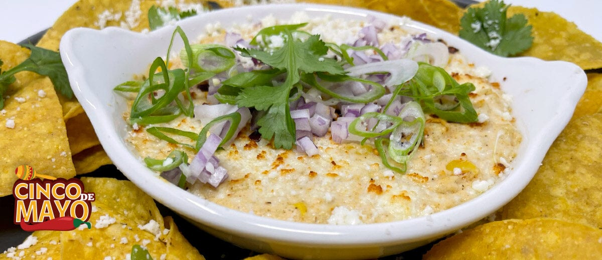 corn dip with yellow corn tortilla chips
