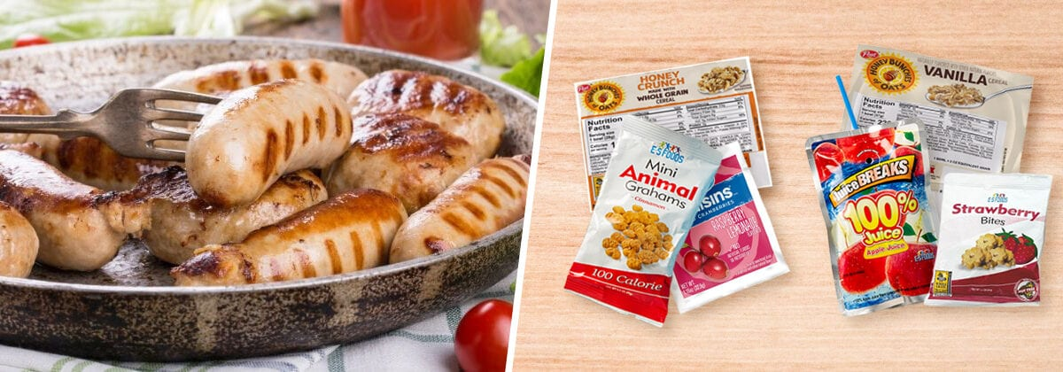 chicken sausages with breakfast variety kits including cereal, crackers, and juice