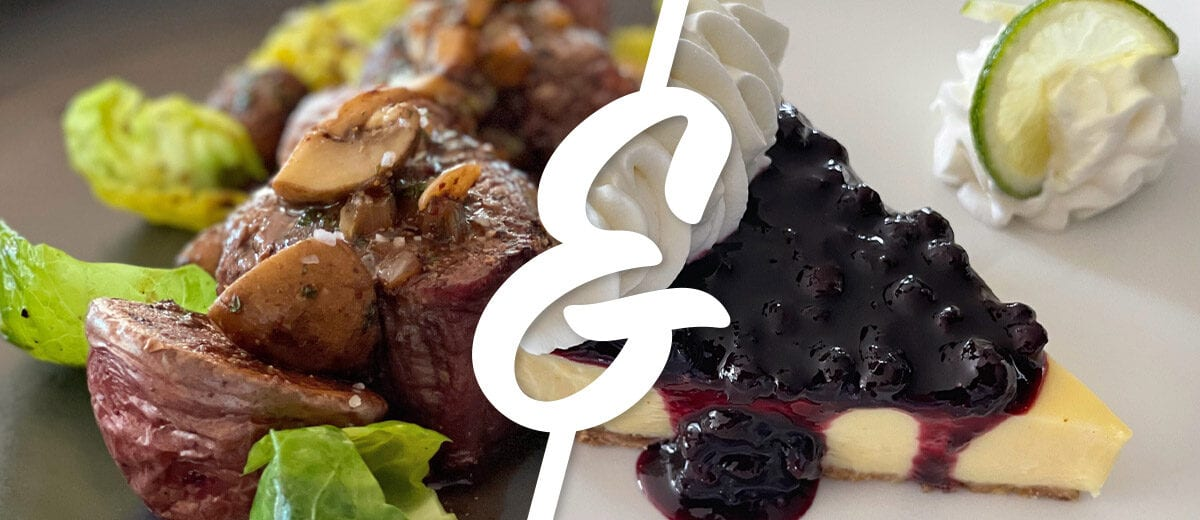 beef dinner and pie dessert graphic