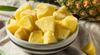 frozen pineapple chunks in a bowl