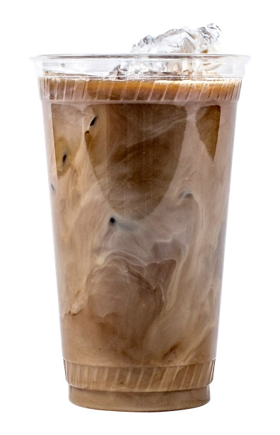 clear plastic cup with iced coffee
