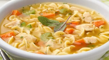 roasted chicken noodle soup in a bowl