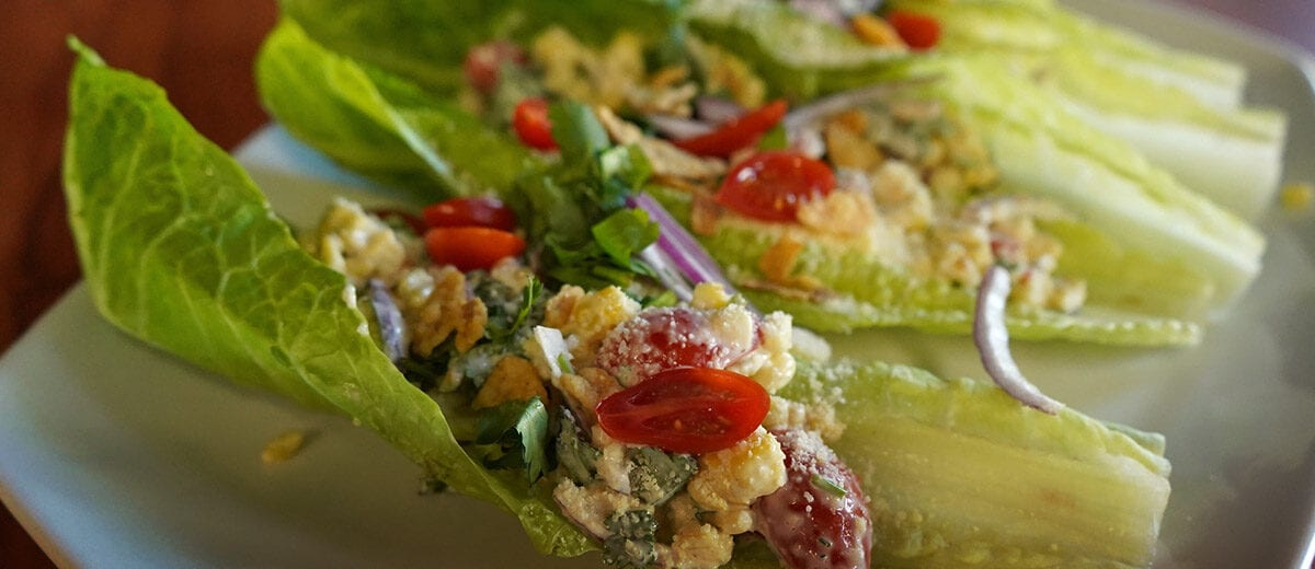romaine leaf hand-held salads