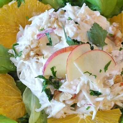crab salad on lettuce with apple slices and lemons