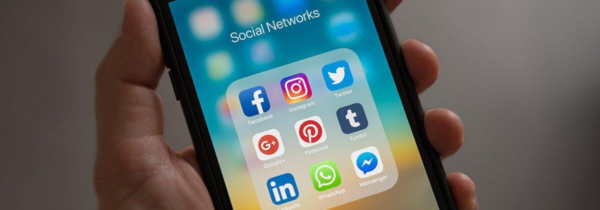 social app icons on a phone
