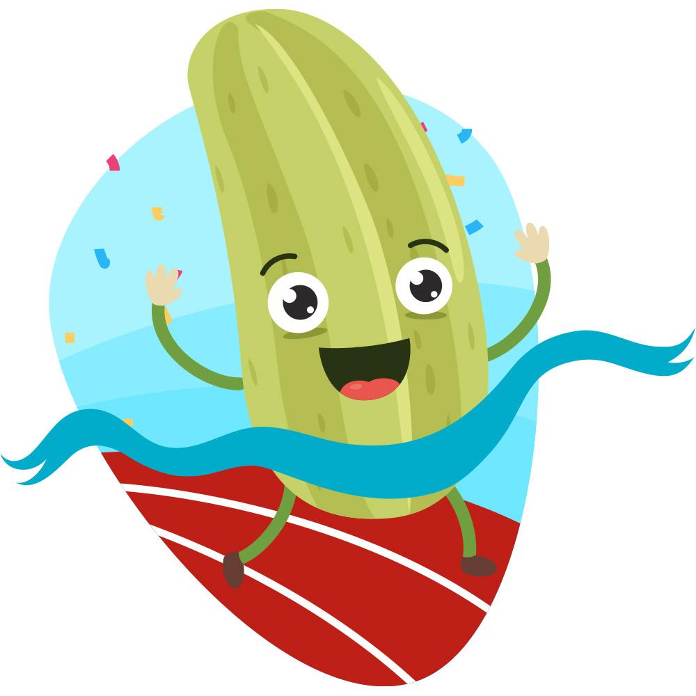 cartoon pickle crossing finish line