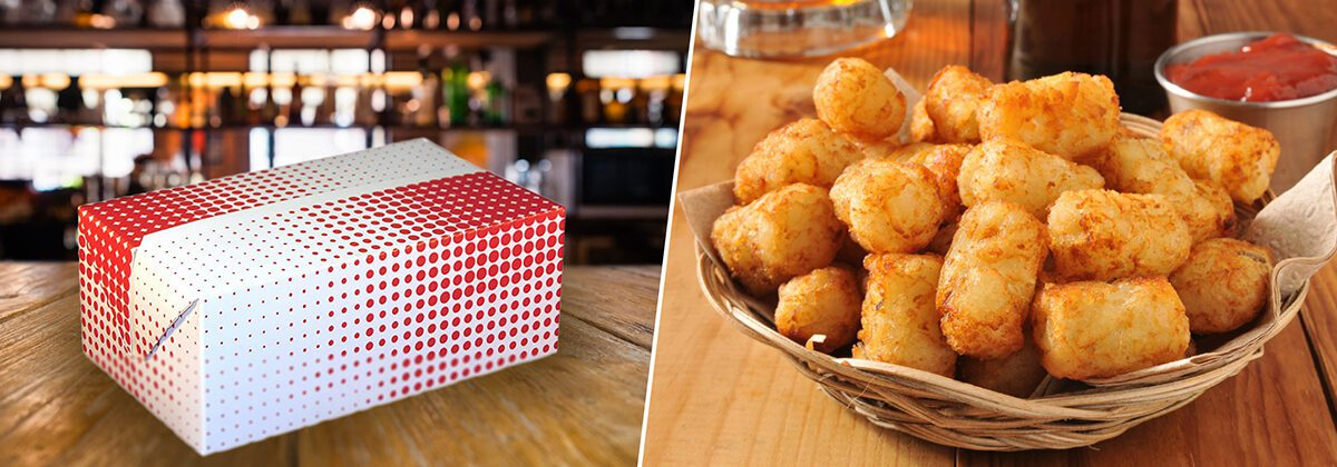 folded takeout chicken box fast top and golden potato tater tots