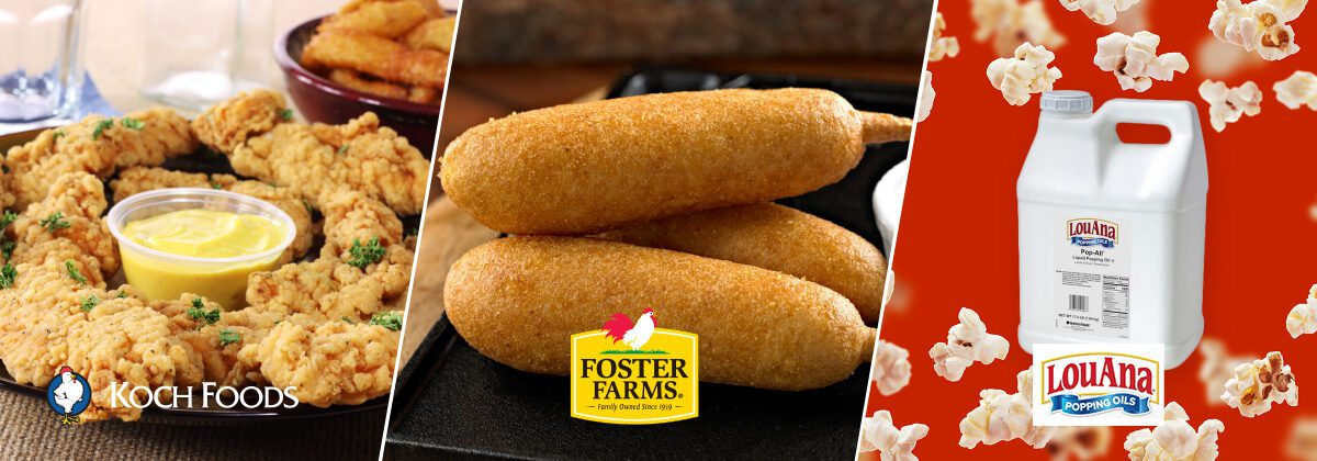 chicken fritters, breakfast corn dogs, and popcorn oil